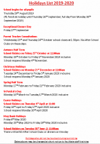 Revised and Updated School Holiday List 2019/2020